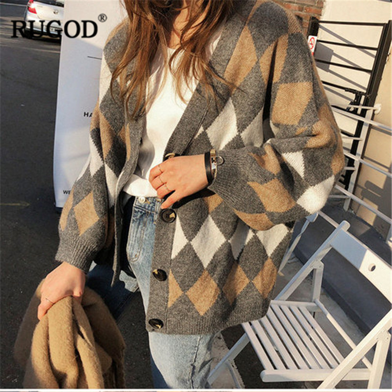 RUGOD Vintage Fashion Women Christmas Cardigans Plaid V-Neck Casual Women Sweaters Knitted Winter Clothes Pull Femme Hiver