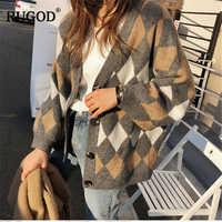 RUGOD Vintage mode femmes Cardigans de noël Plaid col en v décontracté femmes chandails tricotés hiver vêtements pull femme hiver