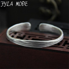 2017 New Arrival 999 Thai Silver Cuff Bracelet Retro Bangle For Women Men With Best Gift 7.10mm 17.50G