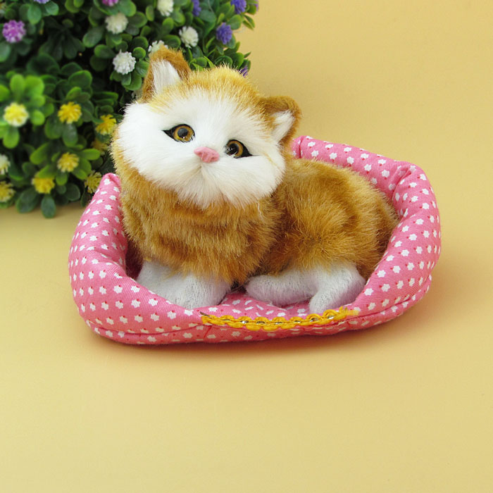 simualtion yellow cat model plastic& furs about 13x10cm squatting cat with mat,handicraft toy ,home decoration Xmas gift w5752