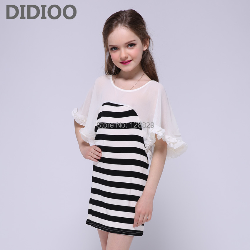 7315a23b198 Girls Dresses Chiffon Batwing Sleeve Kids Dresses For Girls Children  Clothing 4 6 8 Years Summer Striped Dresses Girls Sundress-in Dresses from  Mother ...