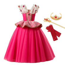 Princess Aurora Dress up Sleeping Beauty Costume for Girls Kids Short Sleeve Red Gown Halloween Party Carnival Fancy Dresses