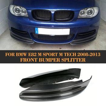 סיבי פחמן פגוש קדמי מפצלי שפתיים עבור BMW 1 סדרת E82 M ספורט סדאן 2007-2013 קדמי מפצלי סינר ספוילר