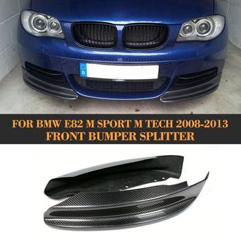 Carbon Fiber Front Bumper Splitters Lip for BMW 1 Series E82 M Sport Sedan 2007-2013 Front Splitters Apron Spoiler