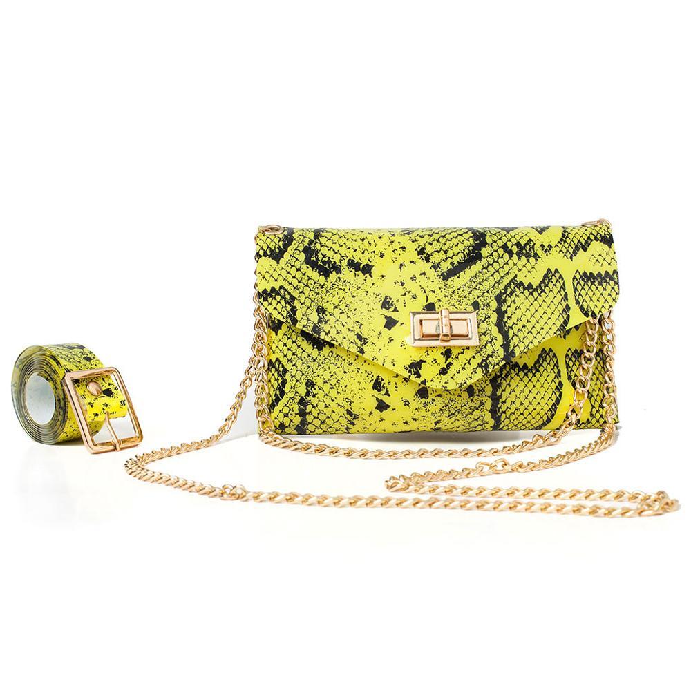Pu Leahter Waist Bag Famal Fashion Waist Belt Women Waist Pack Serpentine Fanny Pack Leather Fashion Snake Skin Waist Bag