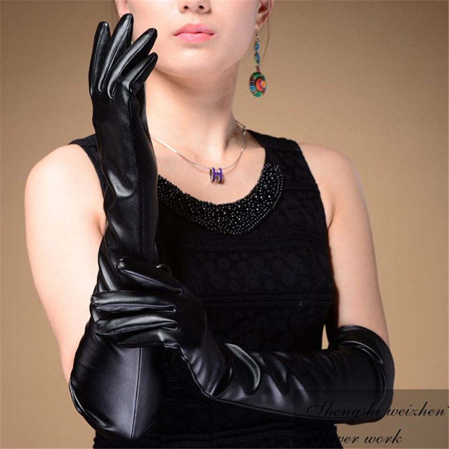 Long black leather gloves prices - Luck Dog Evening Party Elbow Finger Mitten Leather Long Gloves Black China Mainland