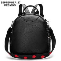 Women Backpack High Quality New Fashion Classic Black Ladies Travel Daypack Genuine Leather Teenager Girls School Bags Mochila