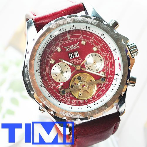 Amazing! Red !!!Dial AUTO Tourbillon Mens Leather Watch