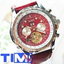 Удивительно! Красный!! Наберите АВТО Tourbillon часы мужские кожаные