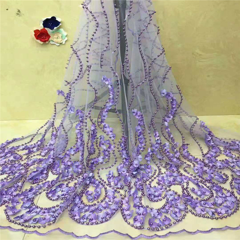 African Lace Fabric With Beades 3d lace fabric 2018 High Quality Bridal For Nigerian Lace Green