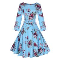 Sisjuly Autumn Hot 1950s Vintage Dresses Elegant Women Female Party Dress Retro Bowknot Flower Print Floral