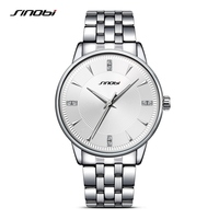SINOBI Sports Men Wrist Watches Stainless Steel Watchband Top Luxury Brand Male Causal Geneva Quartz Clock
