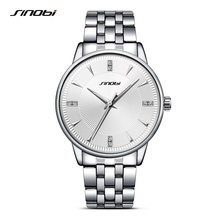 SINOBI Sports Men Wrist Watches Stainless Steel Watchband luxury Brand Male Causal Geneva Quartz Clock Montres