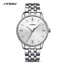 SINOBI Sports Men Wrist Watches Stainless Steel Watchband luxury Brand Male Causal Geneva Quartz Clock Montres Hommes 2017 G45