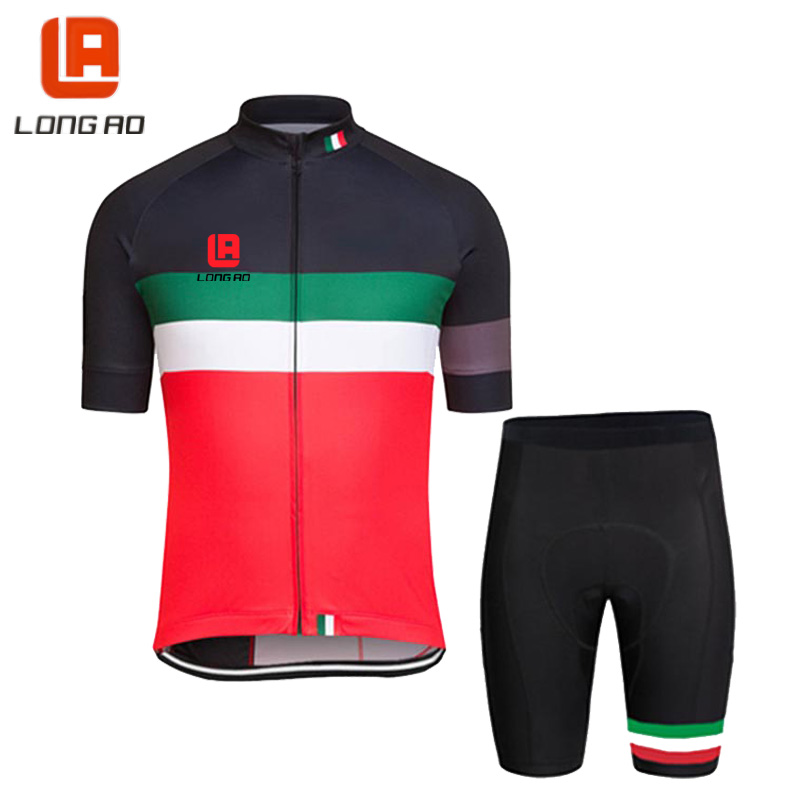Italy national cycling jerseys  LONG AO road bike short sleeve cycling clothing sets pants with blue perforated silicone pad ckahsbi winter long sleeve men uv protect cycling jerseys suit mountain bike quick dry breathable riding pants new clothing sets