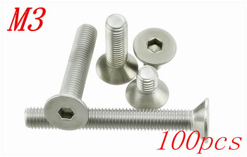 100pcs/Lot Free Shipping M3*4/5/6/8/10/12/14/16/18/20/22/25-50mm Stainless Steel Flat Head Drive Hexagon Socket Cap Screw Bolt image