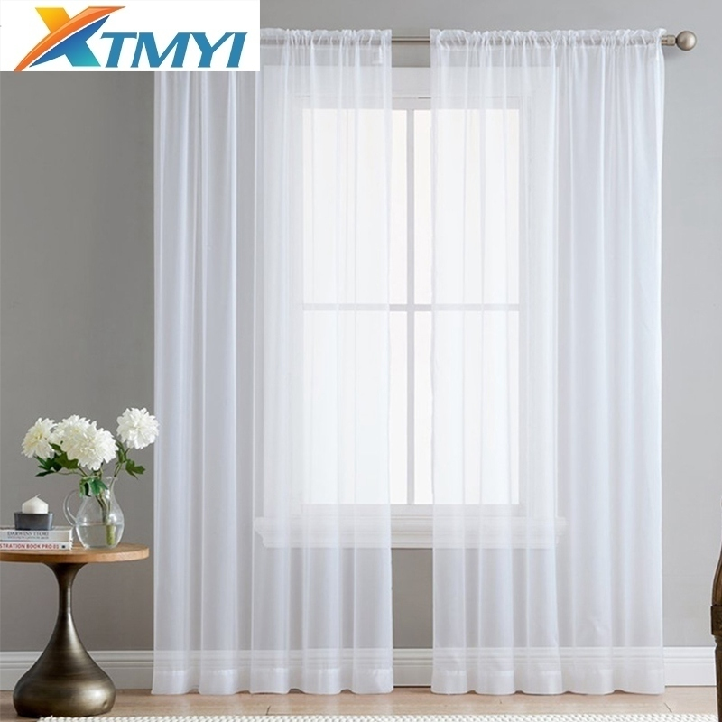 Europe Solid White Yarn Tulle Curtains for Living Room Bedroom Window Treatment Romantic Wedding Ceiling Drapes
