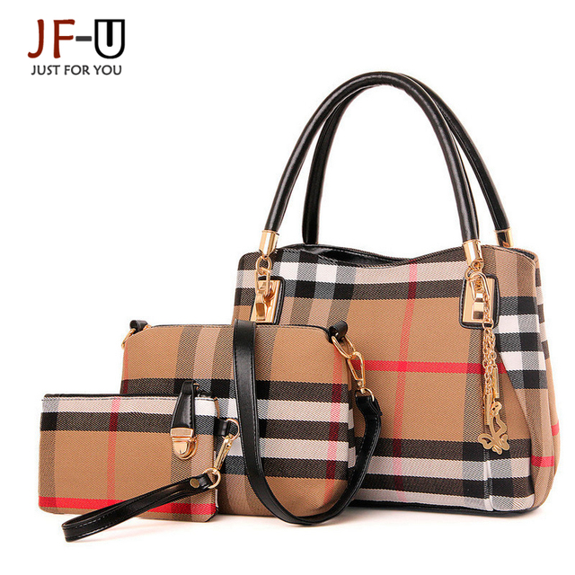 JF-U Fashion Brand Luxury Handbags Women Bags Designer Plaid Canvas Shoulder Bags Women Bag Handbags Sac A Main Femme De Marque