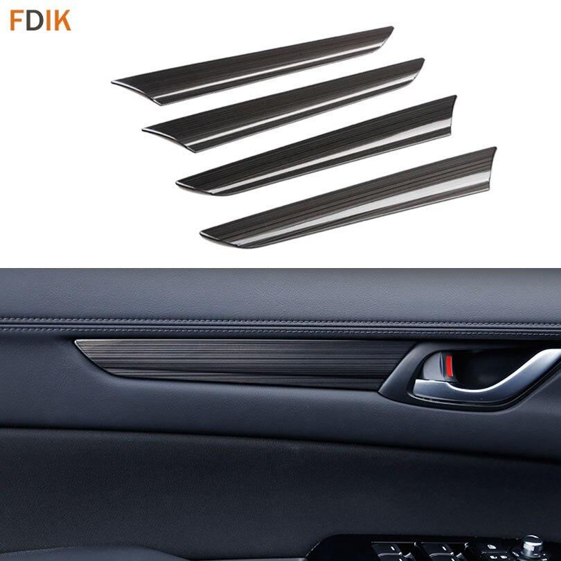 4pcs Stainless Black Titanium Inner Door Handle Cover Molding Trim Protector for Mazda New CX 5