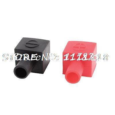 6 x Car Battery Terminal Cable Angle Type Insulation Cover Boot Cap Black Red