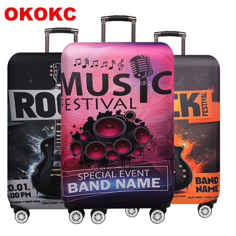 Music Travel Luggage Cover Elastic Protective Travel Suitcase Cover For 18-32 Inch Trolley Bag Case Travel Accessories