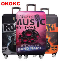 Music Travel Luggage Cover Elastic Protective Travel Suitcase Cover For 18-32 Inch Trolley Bag Case Travel Accessories недорого
