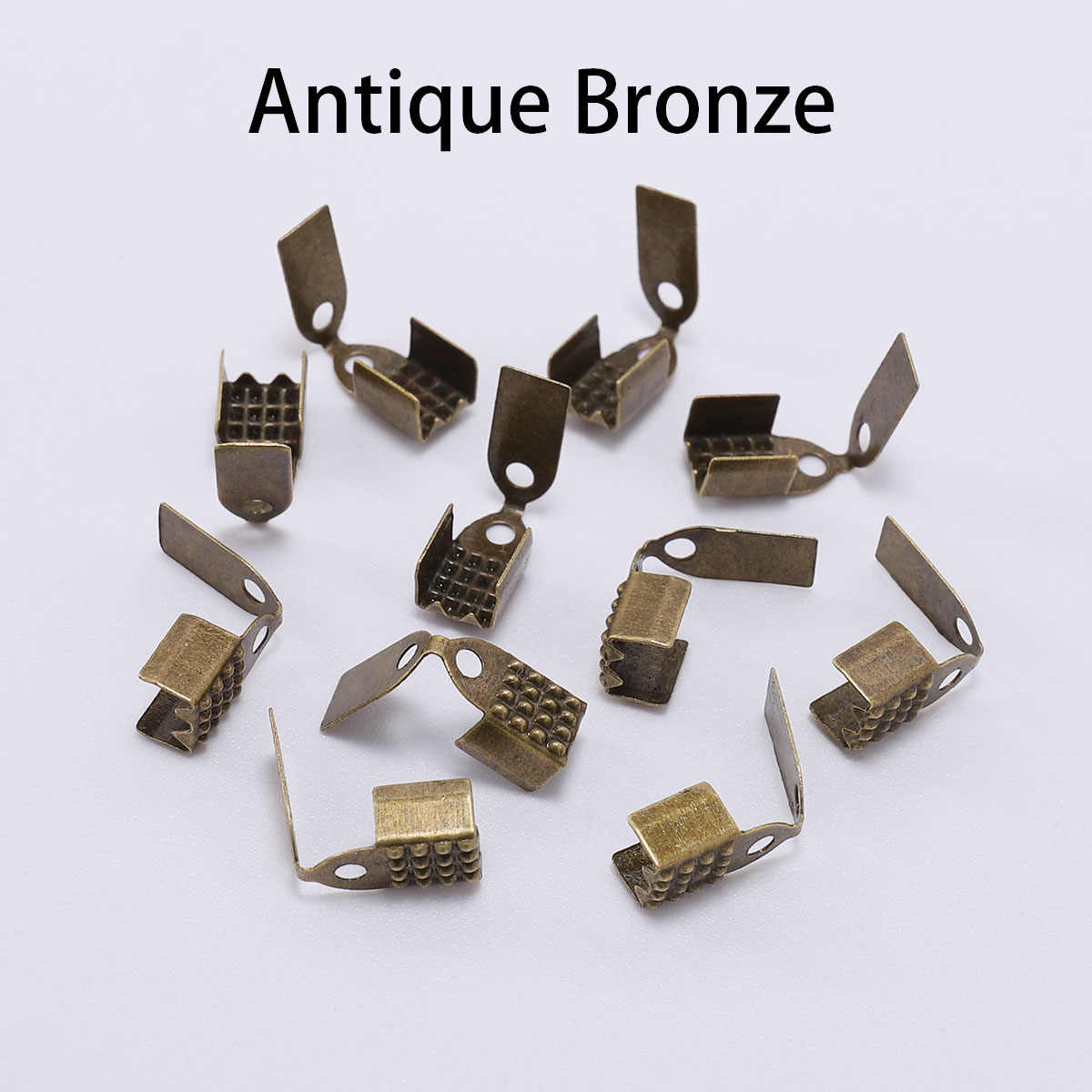 200 pièces or Silve petite pointe d'extrémité de cordon plier sur trois fils fermoir à sertir perle cordon boucle connecteur pour la fabrication de bijoux fournitures bricolage