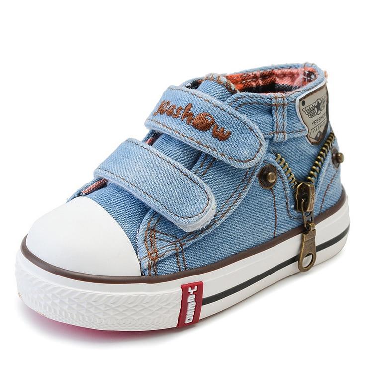 Джинси Джинсовий полотно Дитяче взуття 2018 Новий спортивний дихаючий високі топ хлопчиків кросівки Марка дитяче взуття для дівчаток взуття Baby Boots  t