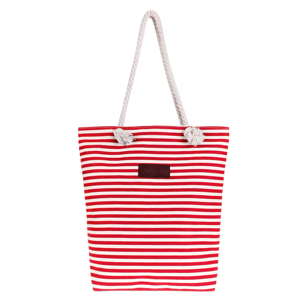 Fashion Stripe Women Canvas Handbag Strap Shopping Bag  Sac a Main Shoulder Bag