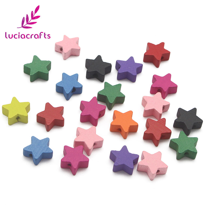 Lucia crafts 24pcs/100pcs 15mm Star Shape Colorful Wooden Beads for kids Jewelry Making Accessories DIY Wood Craft E1029