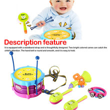 все цены на Educational Kids Toy Set Baby Roll Drum Musical Instruments Kit Children Gift Tambourine Handbell Music Drums For Baby онлайн