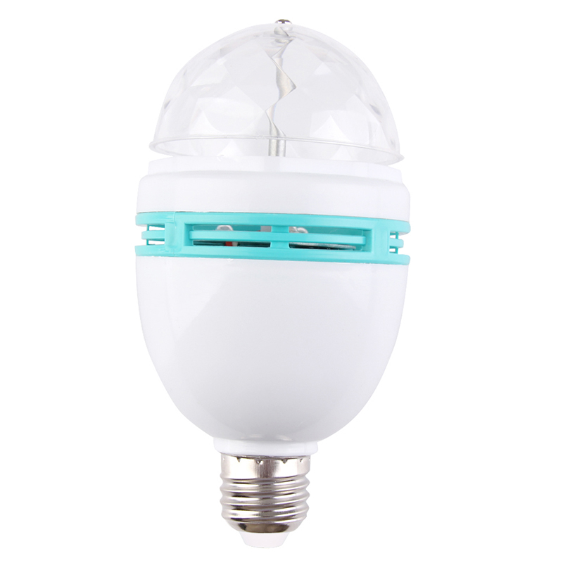 Hight Quality E27 3W Auto Rotating RGB LED Bulb Crystal Stage Light Xmas Party Lamp Disco HR