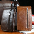2017 New High Quality Genuine Leather Fashion Casual Men's Leather Pockets Male Belt Hanging Bag Mature Male Waist Pac