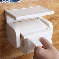 White Plastic Paper Holder Japan Style 6004 Roller Paper Holder Durable Bathroom Accessories Wall Mounted Waterproof Paper Box