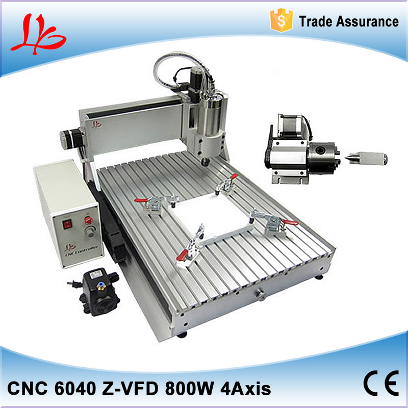 4 axis 800W LY CNC Router 6040 Z-VFD china cnc milling machine for for aluminum metal wood with assembled & tested well eur free tax cnc router 3020z s800 4 axis with 800w spindle mini cnc lathe machine for metal wood