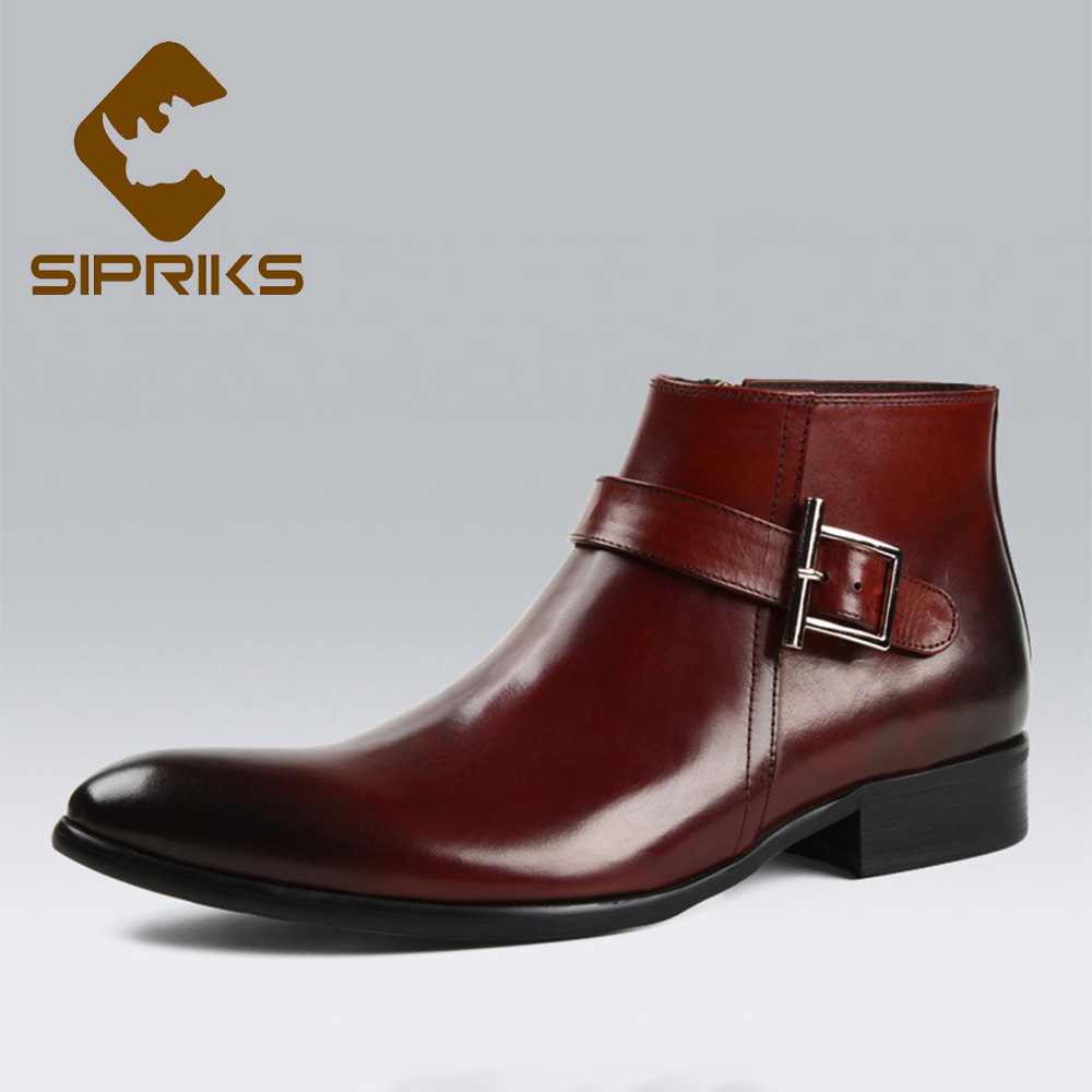 Sipriks Mens Genuine Leather Red Brown Zipper Boots Fashion Pointed Toe Ankle Boots With Buckle Dress Shoes European Black Boots цены онлайн