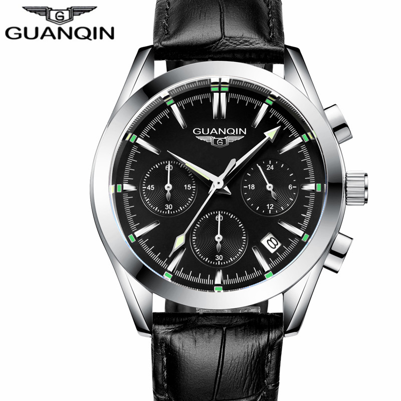 relogio masculino New GUANQIN Watches Men Sport Luxury Brand Chronograph Clock Man Casual Leather Waterproof Quartz Wrist Watch reef tiger brand men s luxury swiss sport watches silicone quartz super grand chronograph super bright watch relogio masculino