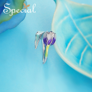 Image 4 - 特別なブランドファッションエナメル花リング紫チューリップエンドオープンリングサイズ調整可能な女性S1720R
