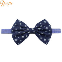 12pcs/lot 5'' Denim Large Bow Headband For Girls 2019 Solid Glitter Elastic Hair Band Kids Big Hair Bows Hair Accessories(China)
