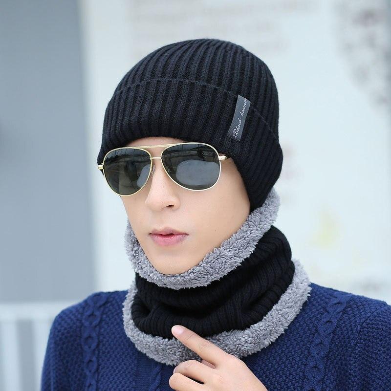 Neck Warmer Hat Scarf Set Mask Knitted Skullies Beanies Wool hat Knit  Winter Hat for Men Boy snow Balaclava