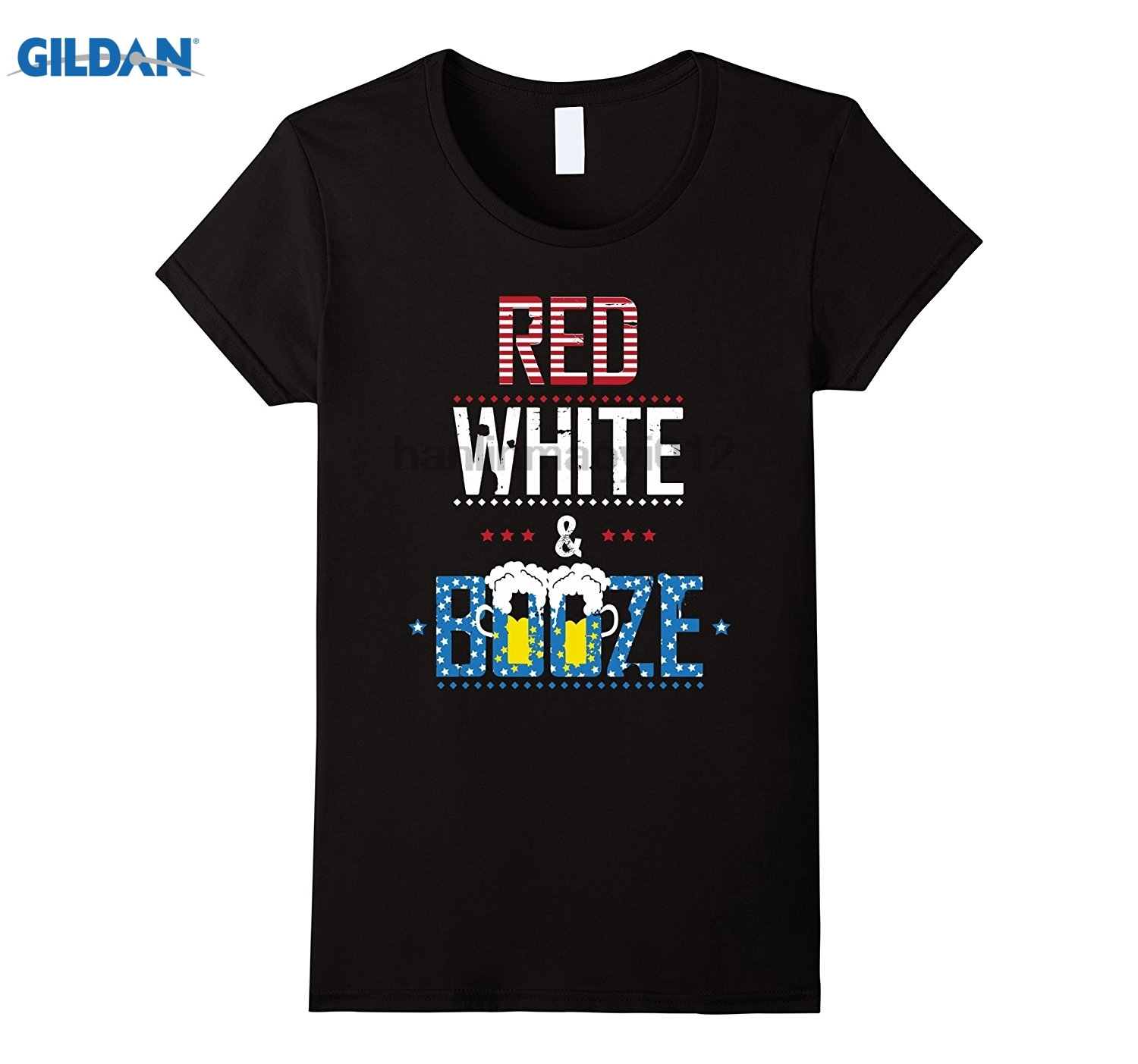 GILDAN Red White and Booze Funny 4th of July Fireworks Show T-Shirt Hot Womens T-shirt