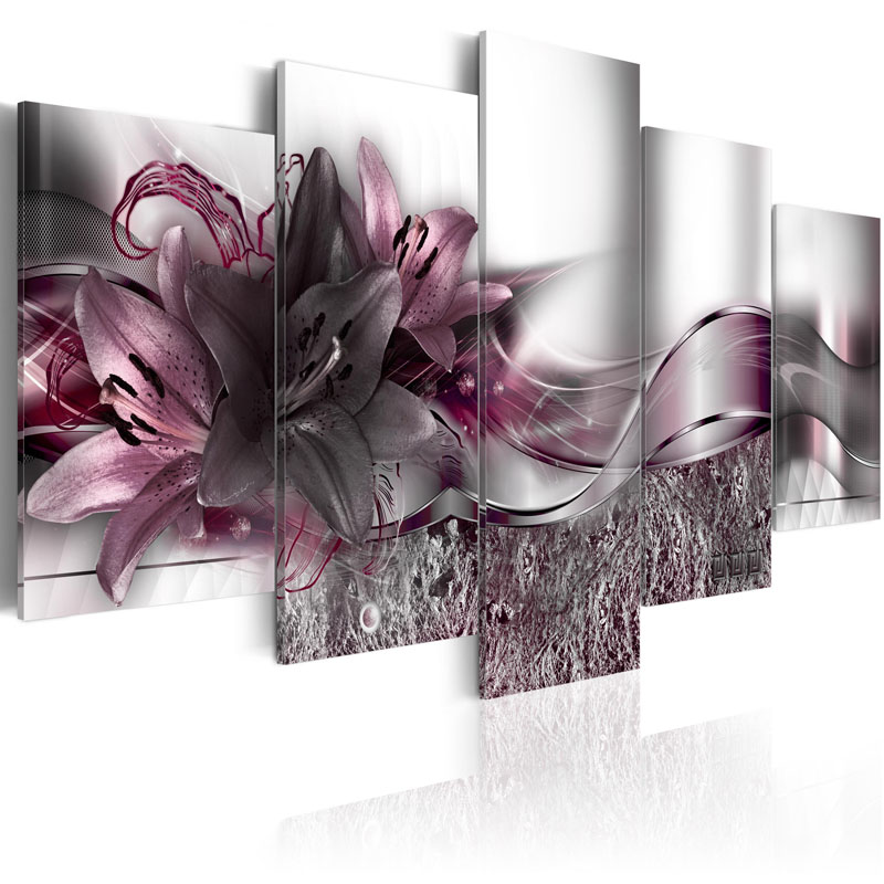 5 Pieces Printed Exquisite background purple lily flowers Painting Canvas Print Room decor print Picture Framed PJMT 12 in Painting Calligraphy from Home Garden