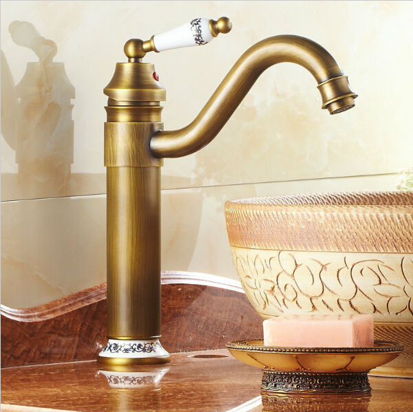 Antique Basin Faucet Brass Finished Hot&cold Mixer Taps Deck Mounted With Blue And White Porcelain Af1005 Basin Faucets