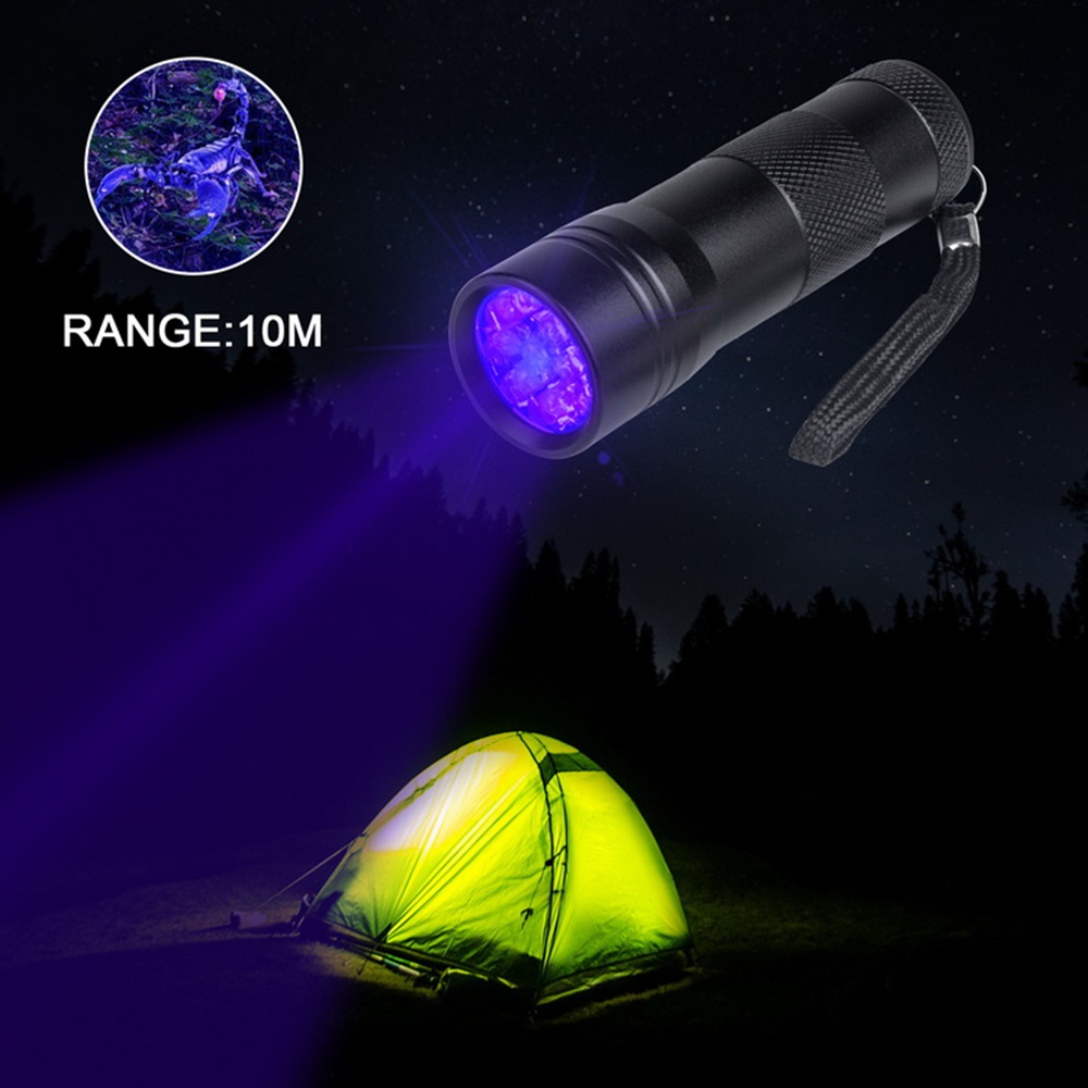Купить с кэшбэком UV Flashlight 12 LEDs 395 nm UV Detector Light for Dog Cat Urine Pet Stains Bed Bugs Scorpions Fluorescence Leaks Inspect