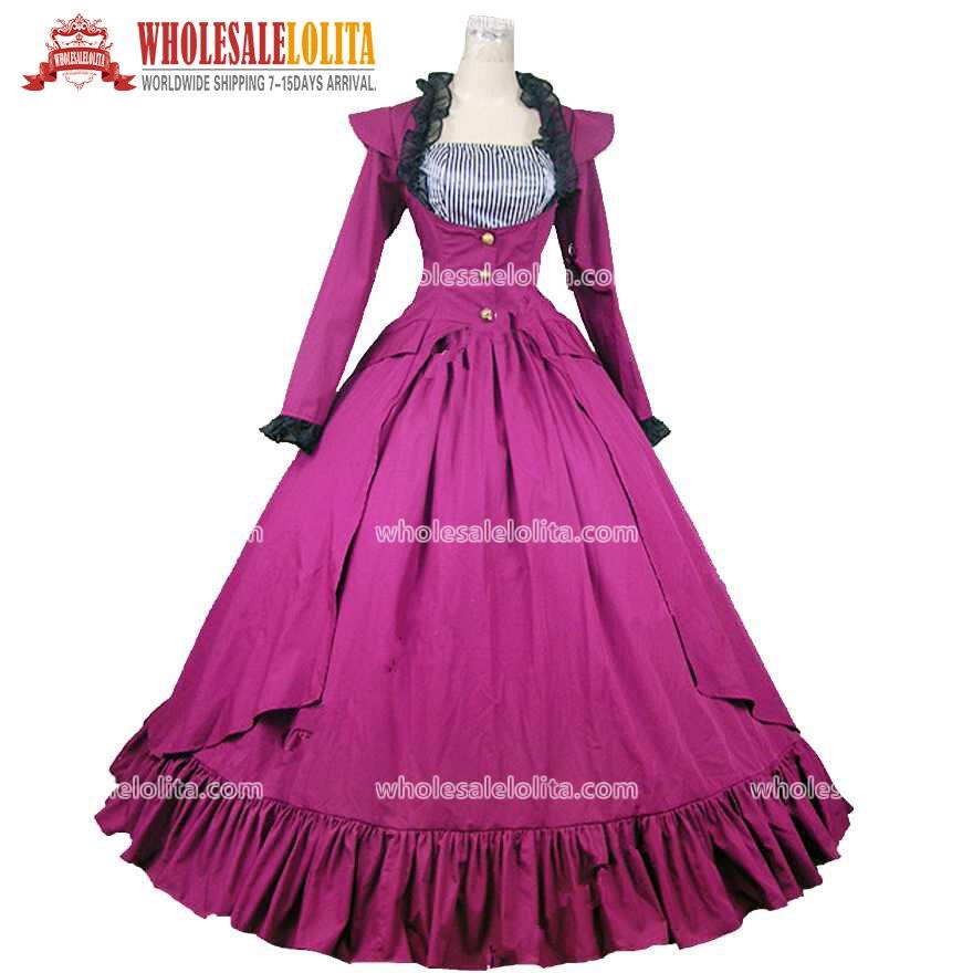 Victorian Plum Purple Punk Period Dress Masquerade Ball Gown Theatre Costume