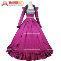 Victorian Plum Purple Punk Period Dress Masquerade Ball Gown Theatre Costume