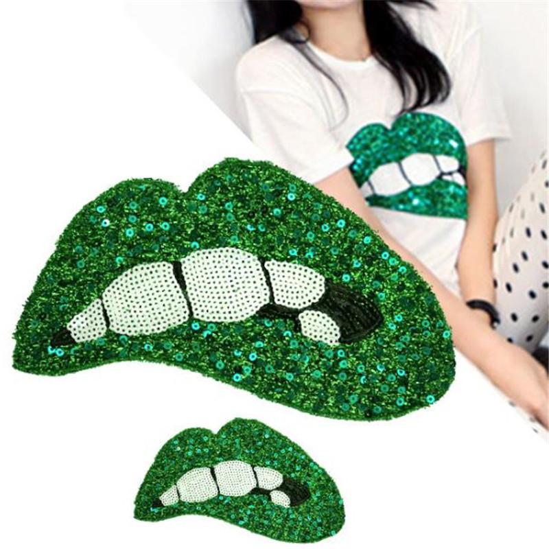 Fashion green sequins Icon 255mm lips patches for clothing embroidery biker patch applique clothes t shirt women flower stickers