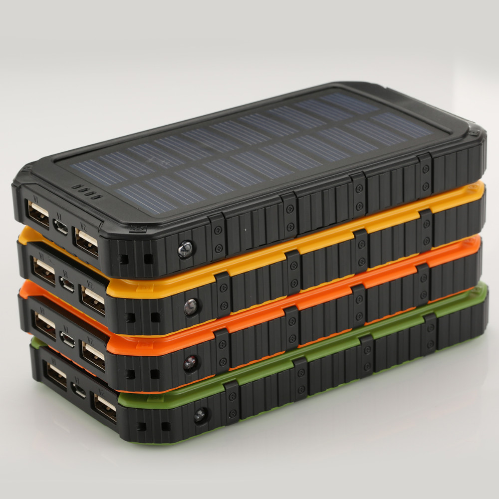 Powercore10000mah Portable Waterproof Solar Power Bank +LED light External Back up battery Charger Power Bank for Cell phone
