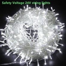 24V 10M Safety String Fairy Lights Low Voltage LED Garland Street Festoon Outdoor Strip Decorasfor Garden Tree House Wedding