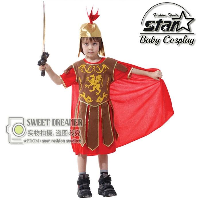 Halloween Carnival Kids Armor Soldier Cosplay Costume Suit Roman Hero Roleplay Costume Fancy Children Short Sleeve Clothing Set halloween cosplay costume children little napoleon long acting costume